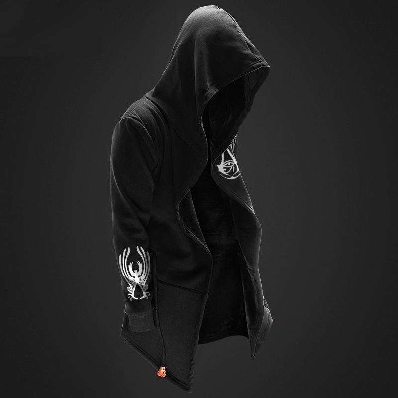 e4fa1c41bd ... Hűvös Assassin's Creed Syndicate hosszú kapucnis fekete férfiak  Assassin kapucnis pulóver