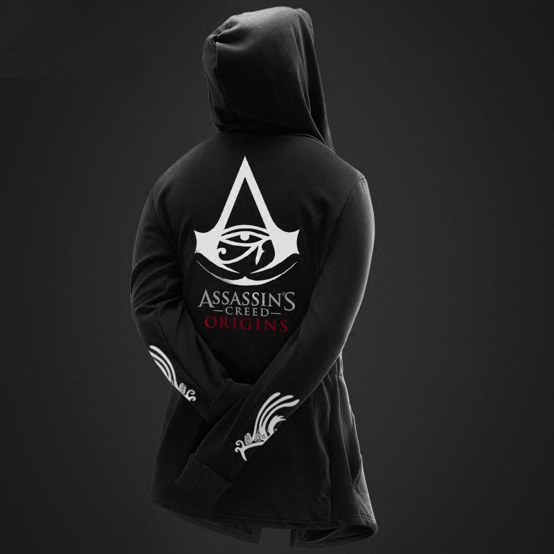 017af7f70c ... Assassin'S Creed származású hosszú Cosplay pulóver fekete kapucnis férfi  ...