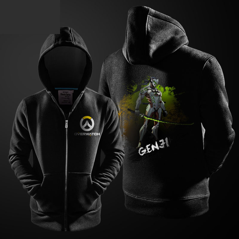 21711f3b5 Ink Print Overwatch Genji Hoodie OW Hero Zipper Sweater For Mens ...
