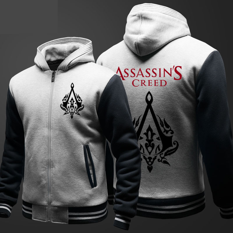 Assassin's Creed Printing Sweatshirts Boys Winter Fleece Thick Zipper Hoodies Men Black Plus Size