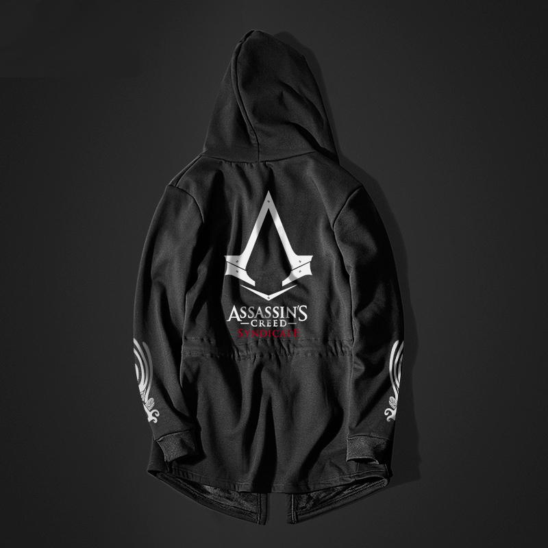 d9ece9d200 Hűvös Assassin's Creed Syndicate hosszú kapucnis fekete férfiak Assassin  kapucnis pulóver