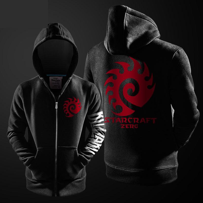 Blizzard Star Craft 2 Zerg Hoodie Black Zip Up StarCraft Sweatshirt