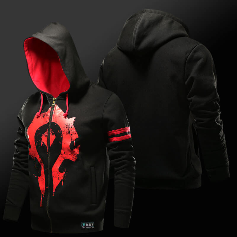 World of Warcraft Horde Hoodie WOW For the Horde Zipper Sweatshirt For Men Boy Cool