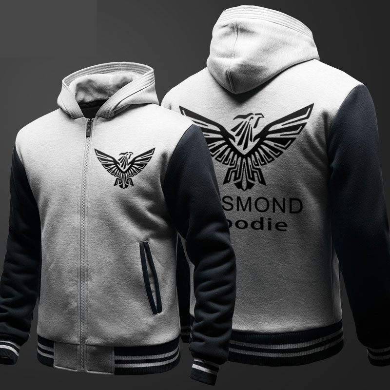 Top Quality Black Assassin's Creed Themed Hoodies Mens Winter Fleece Thick Zipper Sweatshirts XXXL
