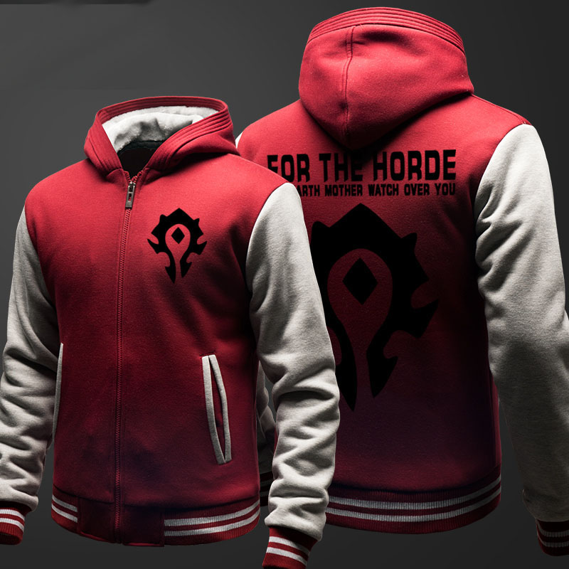 World Of Warcraft Zipper Hooded Sweatshirts Student Winter Hoodie Thick Black Red