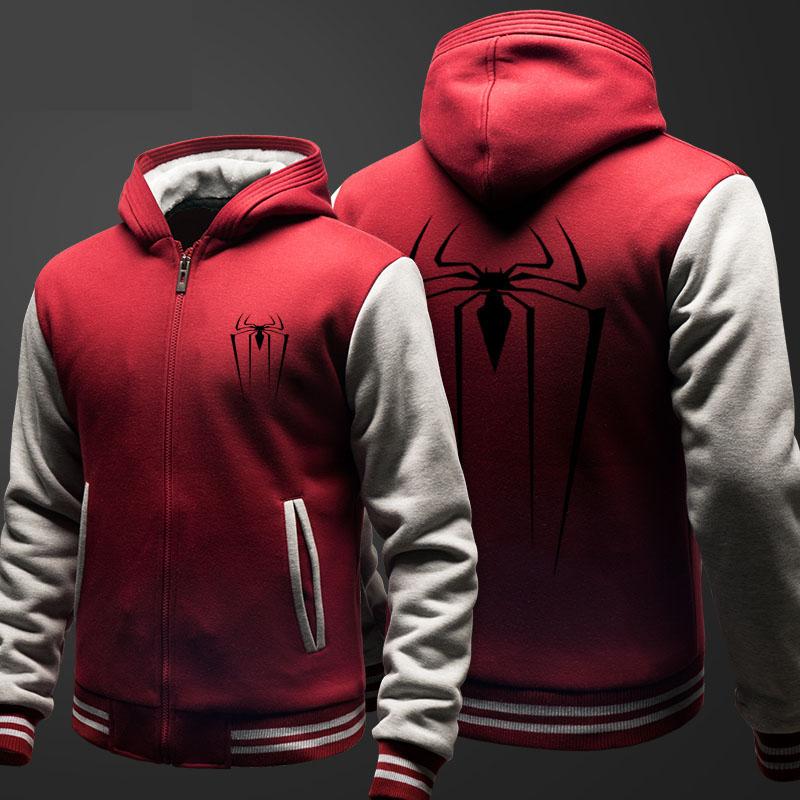 Winter Marvel Spiderman Fleece Hoodie Red Zip Up Superhero Sweatshirt for Men