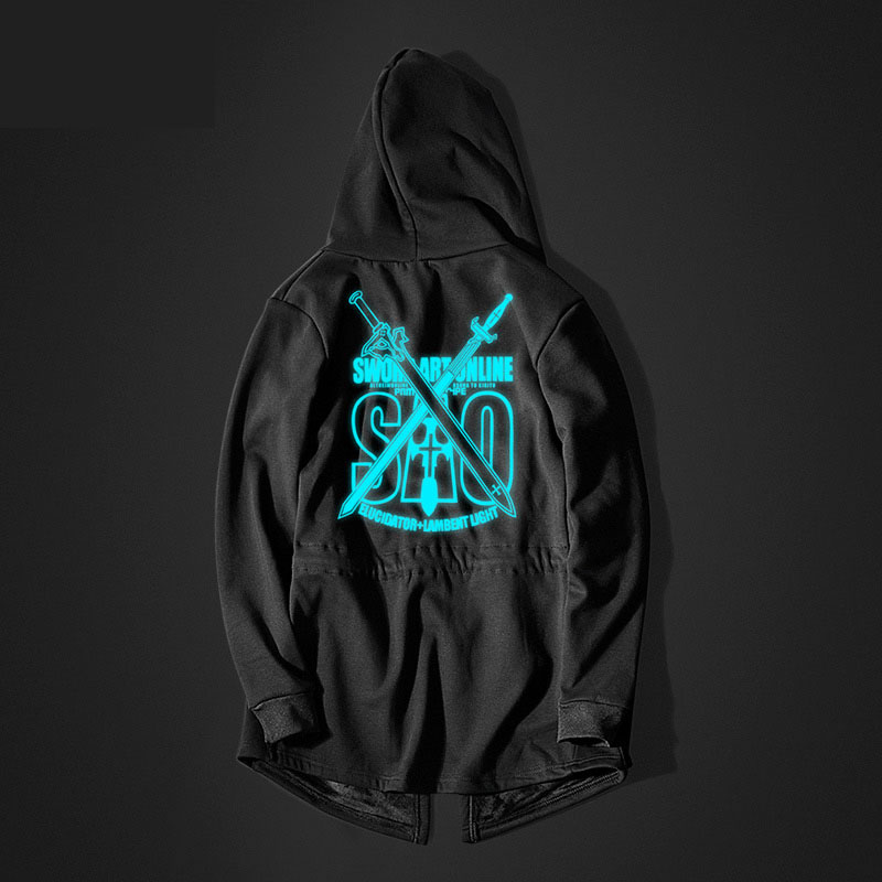 Luminous Sword Art Online Long Hoodie Black SAO Coats for Youth