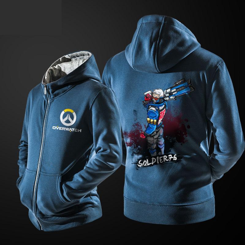 Ink Soldier 76 Zip Up Hoodie Overwatch Hero Blue Sweater for Men Boy