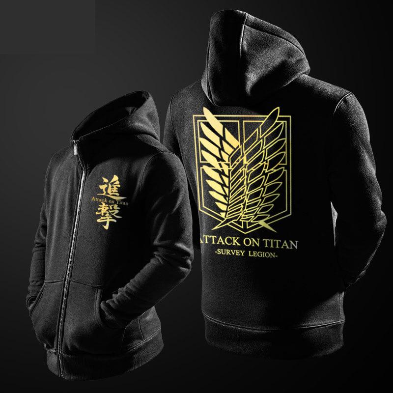 Attack on Titan Sweatshirt Men Black Zipper Hoodies