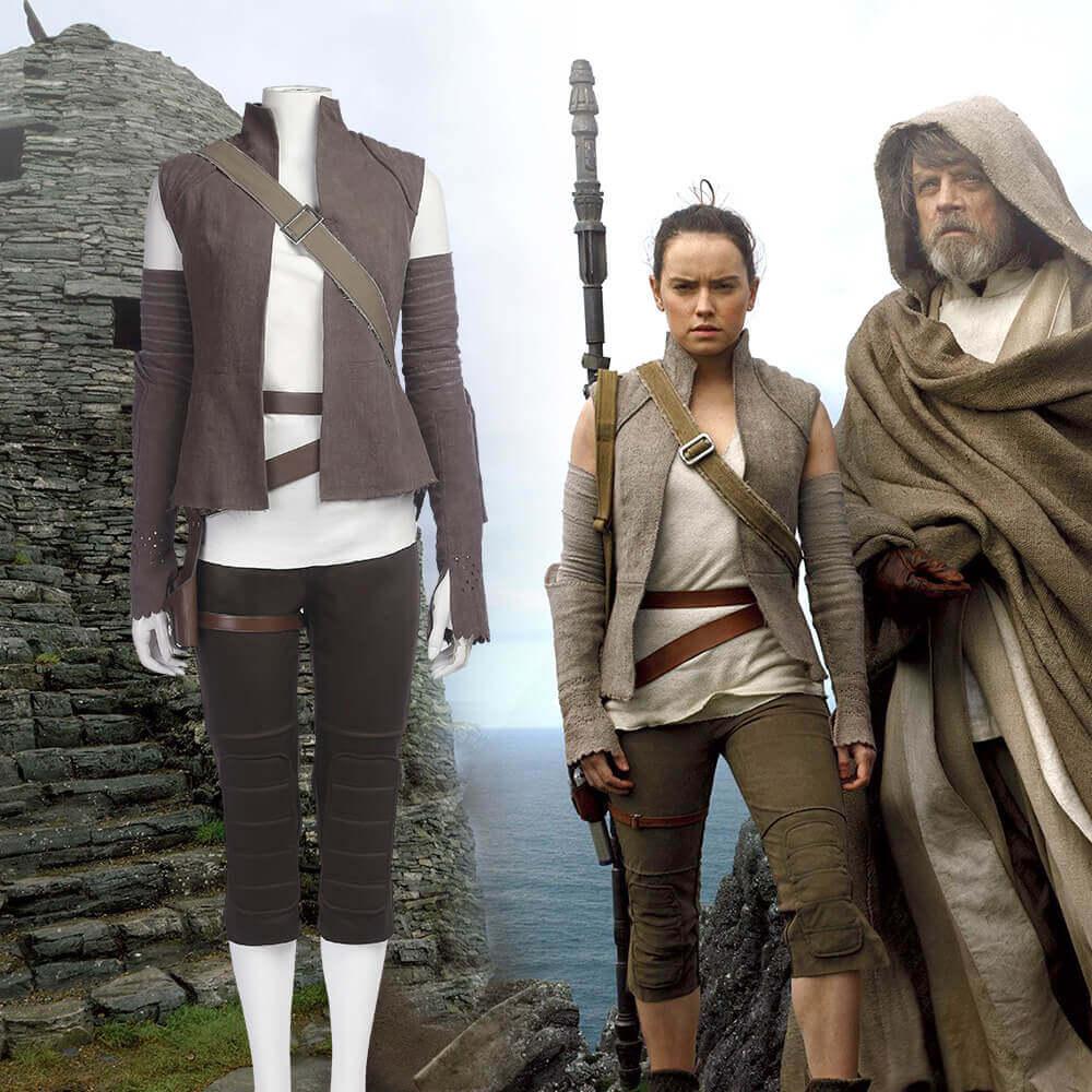 Star Wars 8 Rey Jedi Cosplay Costume Women Costume