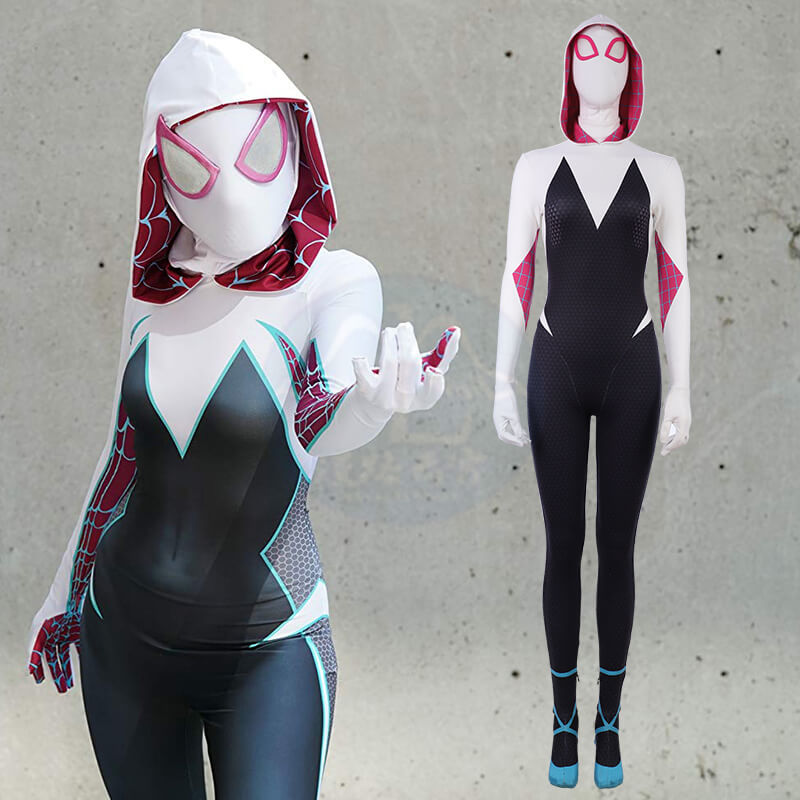 Into The Spider Verse Halloween Costumes Spider-Gwen Jumpsuits