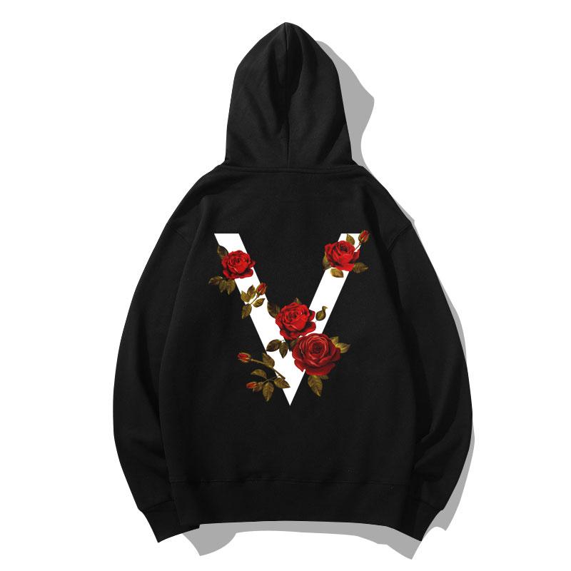 V-shaped Rose Sweatshirts Coat