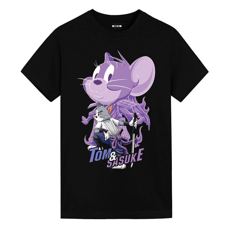 Tom and Jerry Sasuke Uchiha Tom Tees Anime T Shirt Design