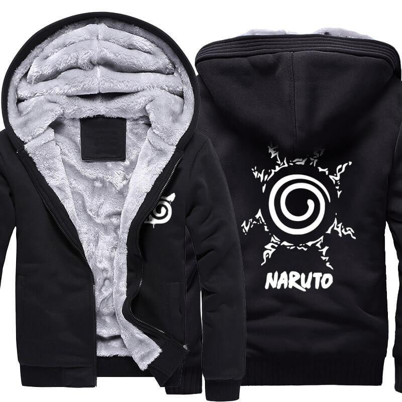 Winter Warm Hoodies Naruto Uzumaki Logo Coats