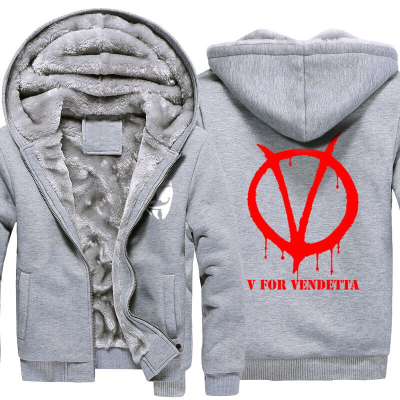 Winter Coats V for Vendetta Logo Thick Hoodies For Winter