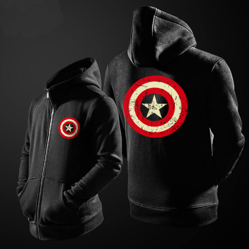 Marvel Captain America Sweat Shirts Superhero Mens Blue Hoodie