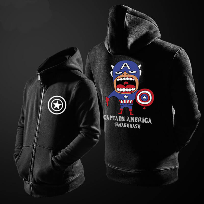 Superhero Captain America Hooded Sweatshirts Men Black Hoodie
