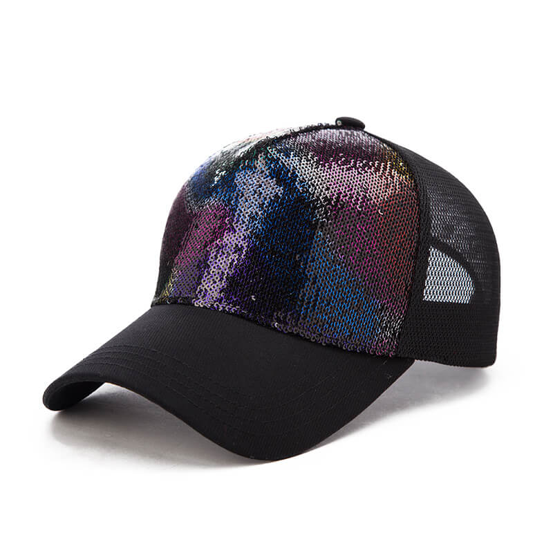 Ladies Summer Baseball Caps Wild Sequins Cap Travelling Summer Sun Hats  100% Cotton 08ed3180689