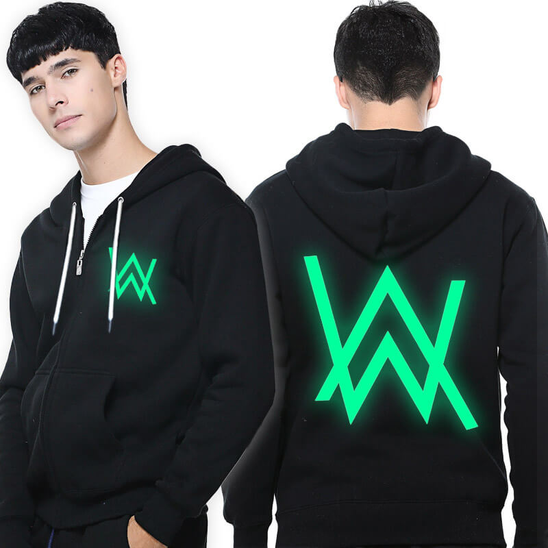 Alan Walker Faded Sweatshirt Cool 3XL Black Luminous Hoodie for Men