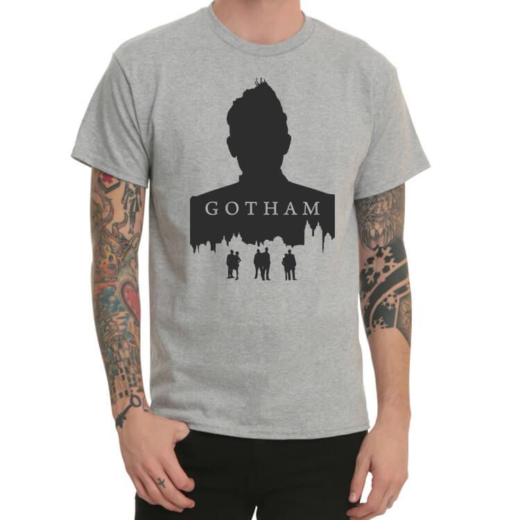 Batman Gotham City Brown Print T-Shirt Trend