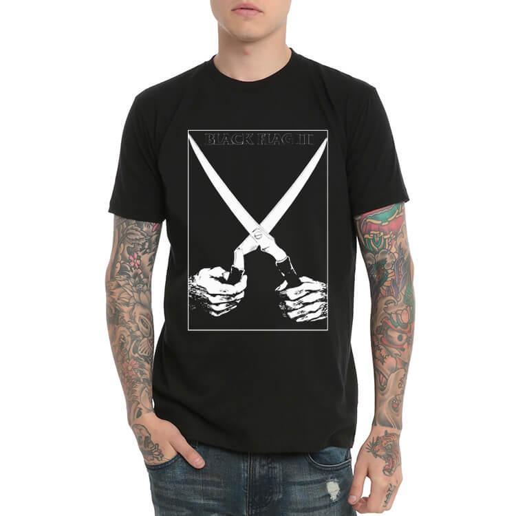Black Flag Heavy Metal Rock Print T-Shirt
