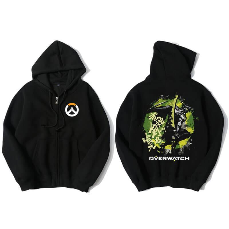 Blizzard Overwatch Genji Hoodie Men Black Hooded Sweatshirts