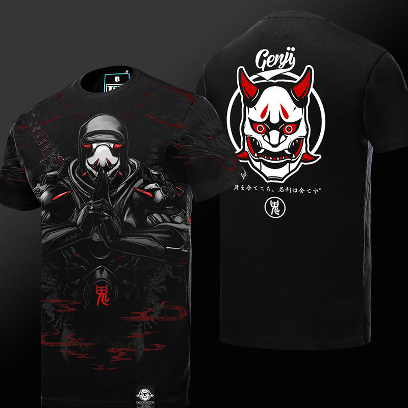 Blizzard Overwatch Oni Genji Mask T-shirt Limited Edition Black 4xl Tee
