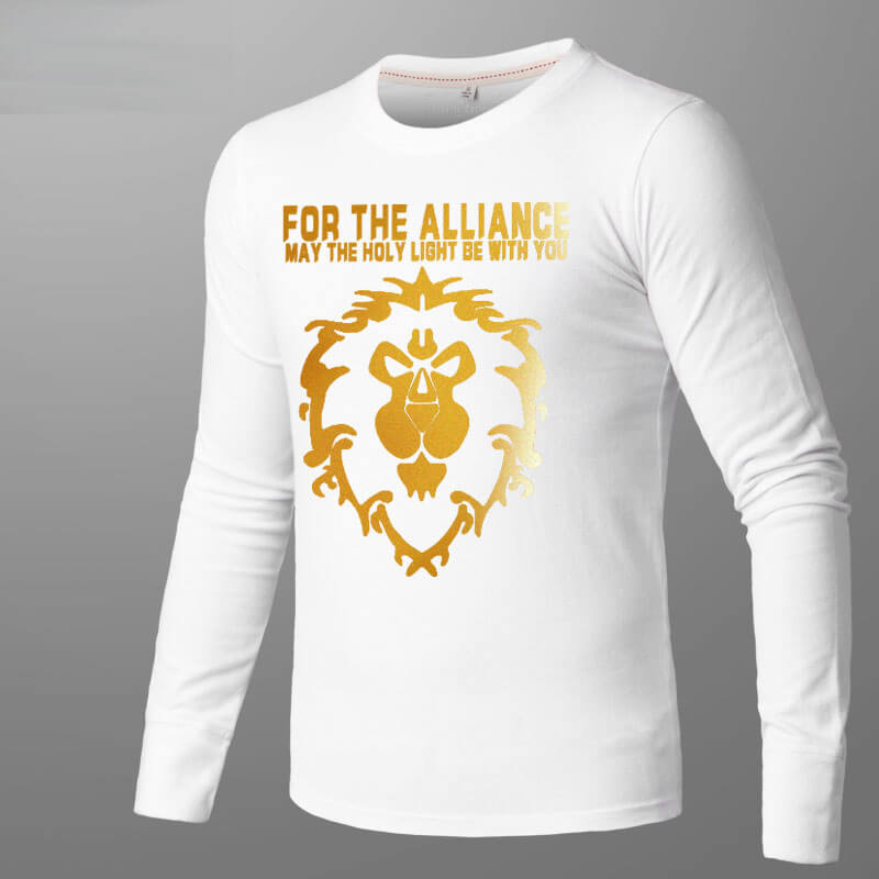 Blizzard WOW Alliance Golden Lion T-shirt World of Warcraft Long Sleeve Tee