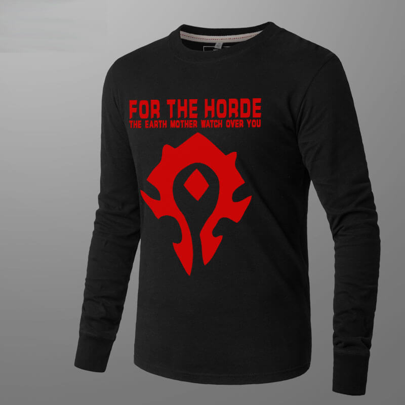Blizzard WOW Horde Logo T-shirt World of Warcraft Long Sleeve Tee Shirt For Men