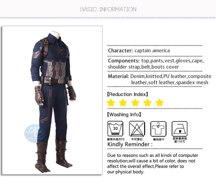 Captain America Cosplay Costume Movie Avengers Infinity War Cloth