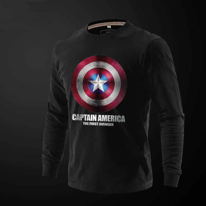 Captain America Printed Long Sleeve T Shirts