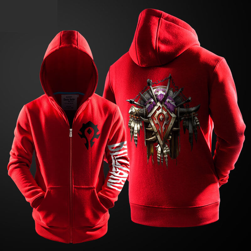 Cool Blizzard WOW Horde Hoodie World of Warcraft Red Zipper