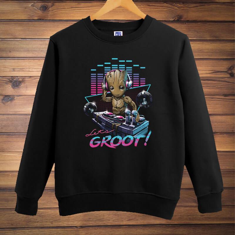 Cool Groot Hoodie Guardians of the Galaxy Black Pullover Sweatshirt