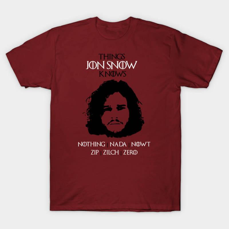 Cool Jon Snow Tshirt Game of Thrones Tee