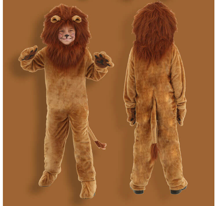 Cool Lion Cosplay Body Suits Kids Stage Performance Children's Day Brown Halloween
