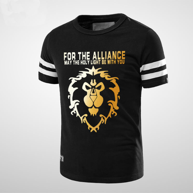 Cool WOW Alliance Lion logo T-shirt World of Warcraft Black Tee Shirt