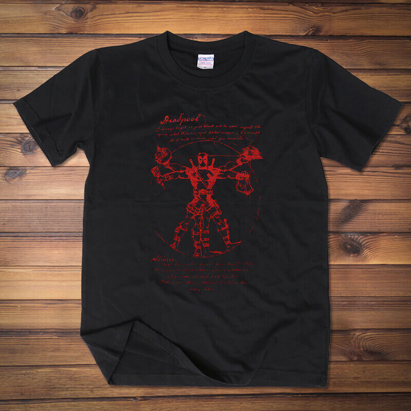 Creative Deadpool Hero Tee shirt Black cotton Tshirt