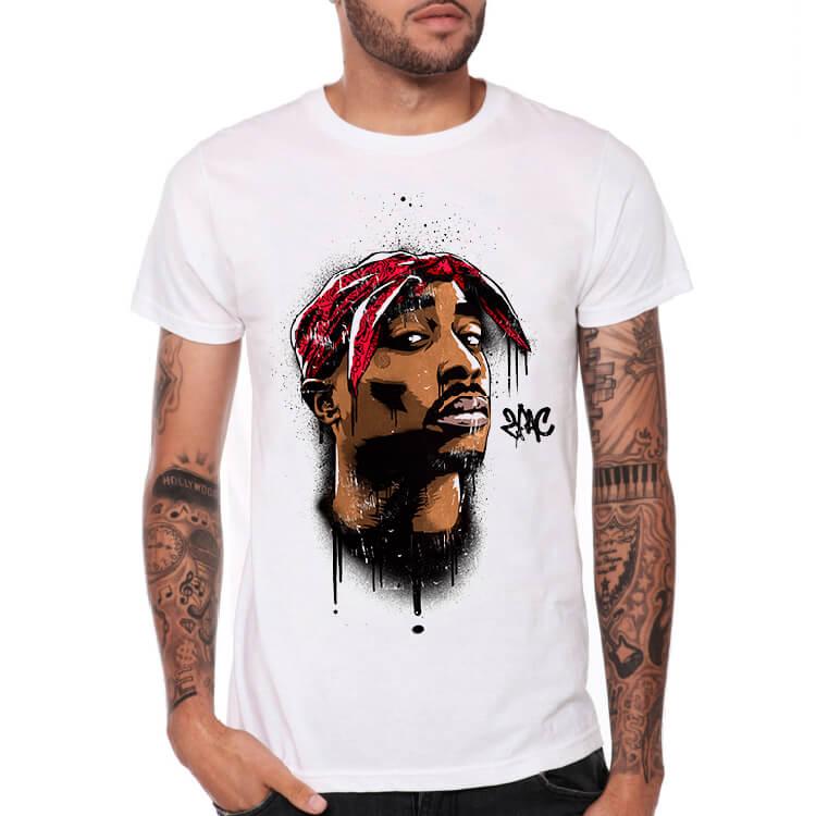 2745edc8f Módna 2PAC Rock Tshirt Hip Hop Tupac White Tee | Wishiny