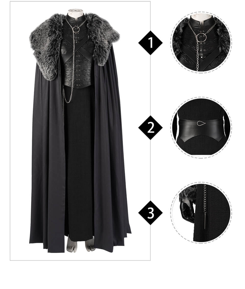 Game of Thrones Cosplay Costume Sansa Stark Cosplay Dress Cloak Outfit