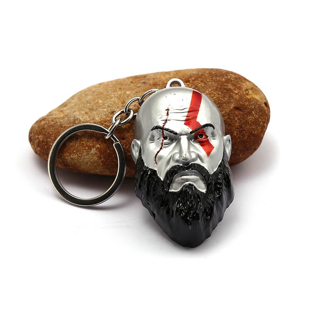 God of War 4 Kratos 3D Head Keychain Pendant
