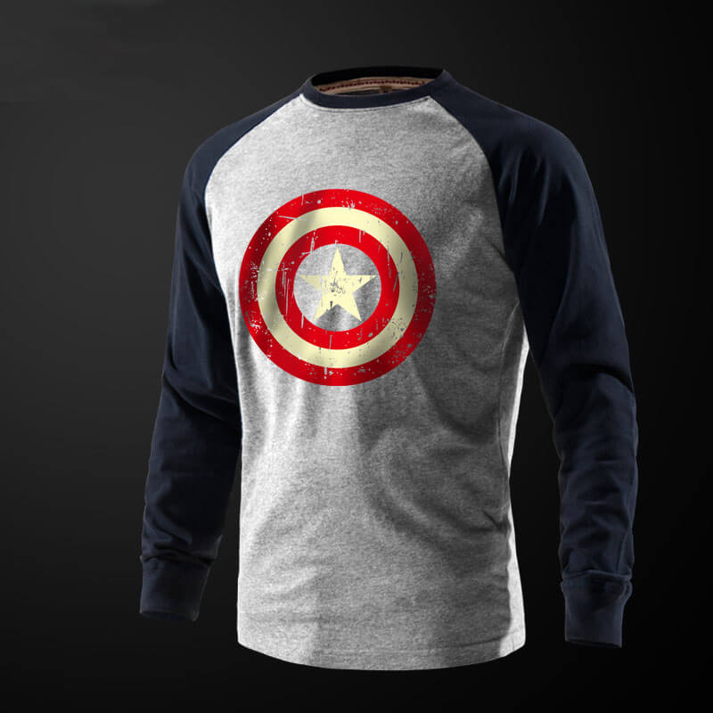 Grey Captain America T Shirt Full Sleeves