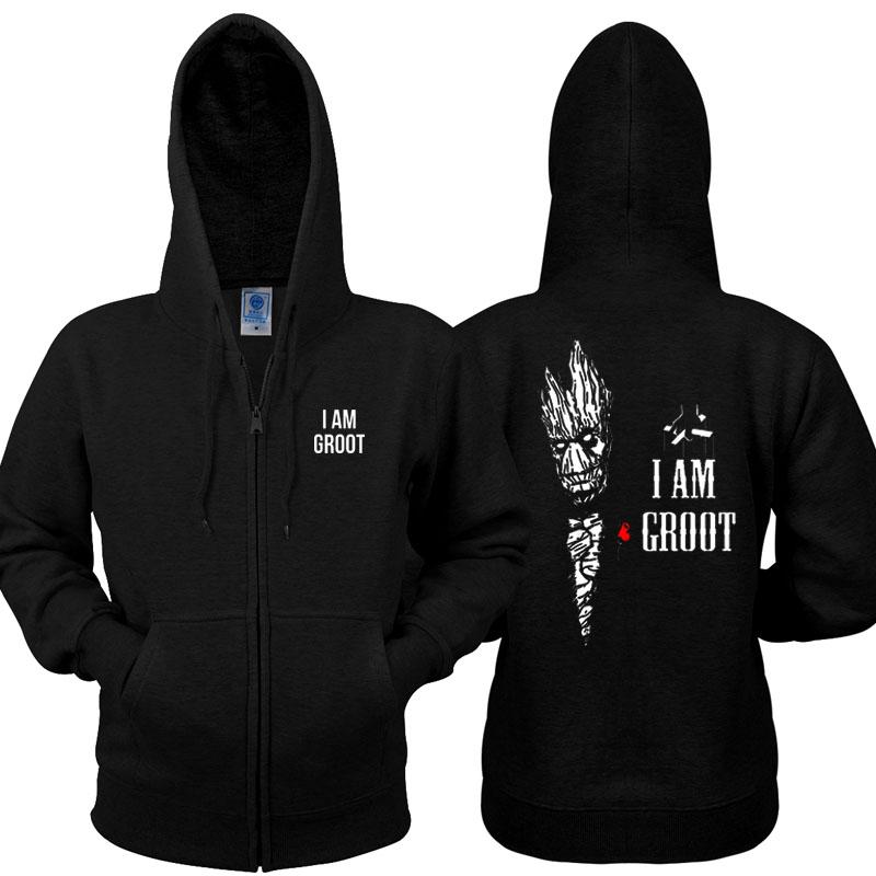 Guardians of the Galaxy 2 Hoodie i am groot Zip Up Black Sweatshirt