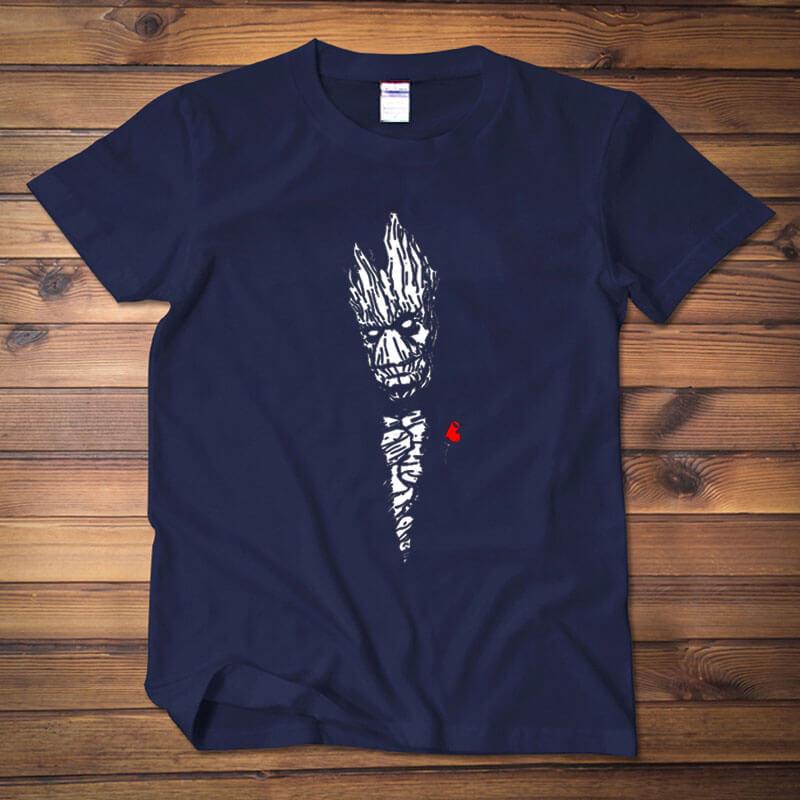 Guardians Of The Galaxy Groot T-shirt Dark Blue Tee Shirt for Men