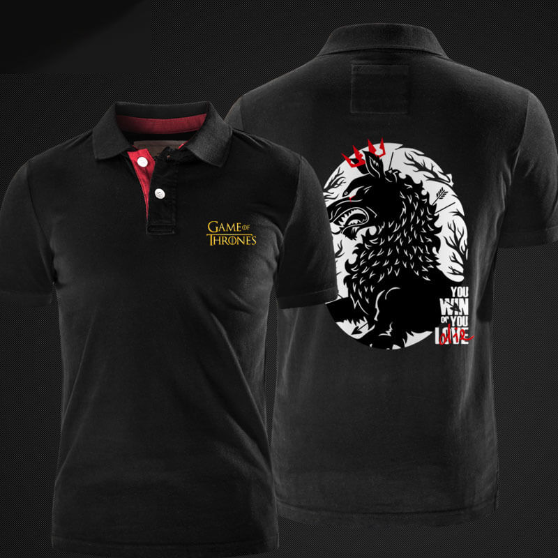 Hous Stark Wolf Polo T-shirt A Song of Ice and Fire Polos