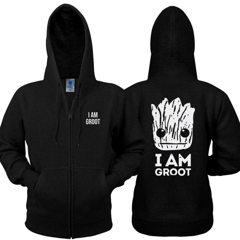 I Am Groot Zip Up Hoodie Guardians 2 Men Black Sweatshirt
