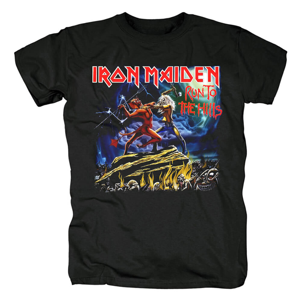 Iron Maiden Band Run To The Hills T-Shirt Uk Metal Rock Tshirts