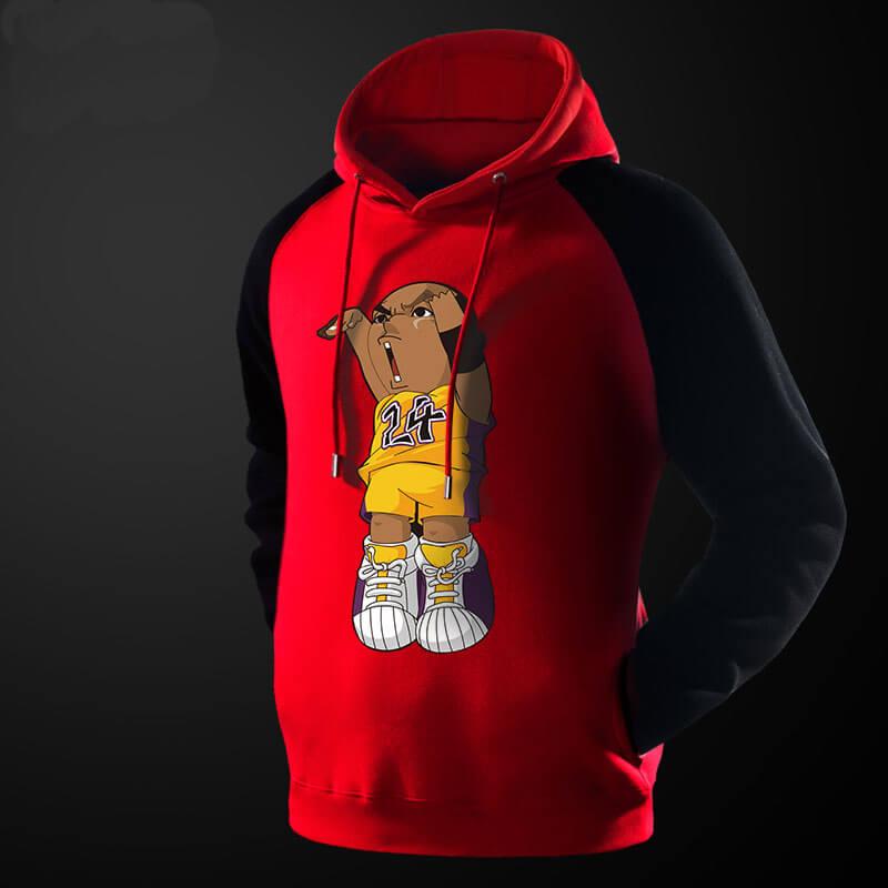 Lovely Cartoon Kobe Bryant Hoodie Red Pullover Sweatshirt