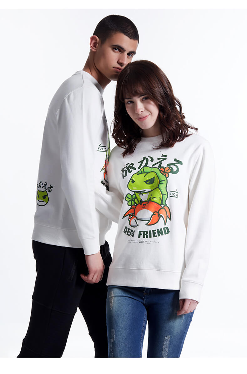 Lovely Travel Frog Hoodie unisex White Crew Neck xxxl Sweatshirt