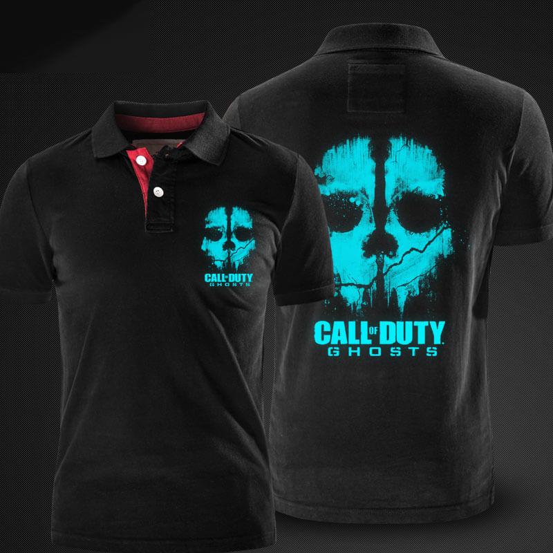 Luminous Call of Duty Ghosts Polo Shirts Black xxl Men Polo Tshirt