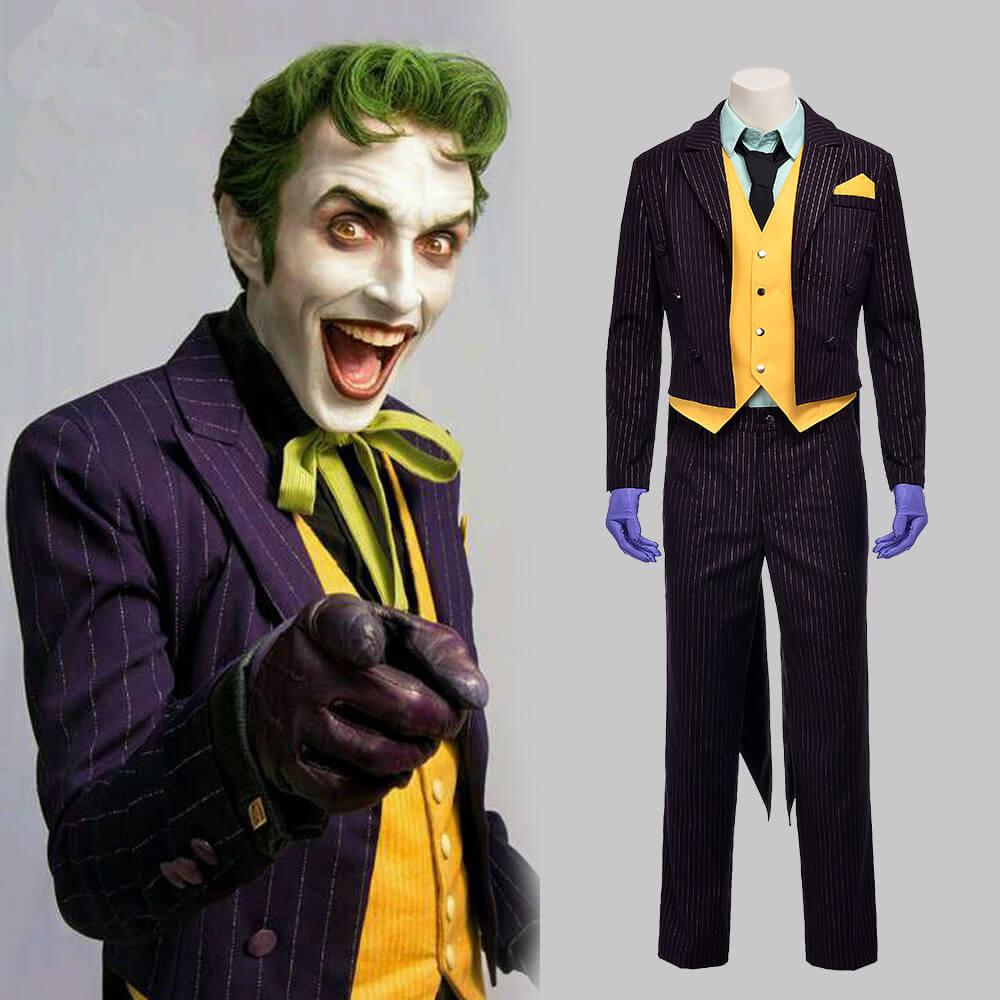 Quality Batman Joker Suit Arkham Asylum Joker Cosplay Costume